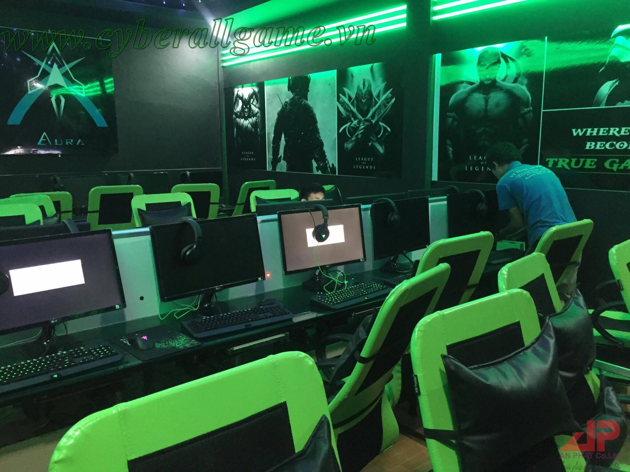 phòng game tông màu xanh