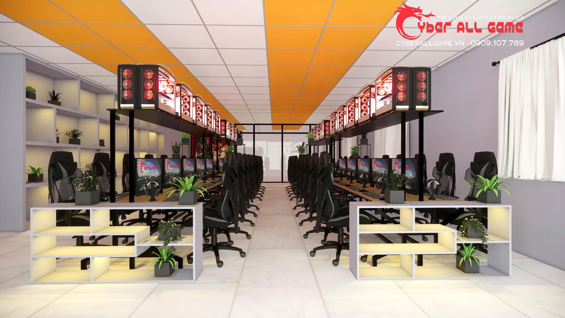 mô hình cyber game dùng case kính cường lực